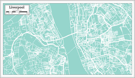 Liverpool England City Map in Retro Style.