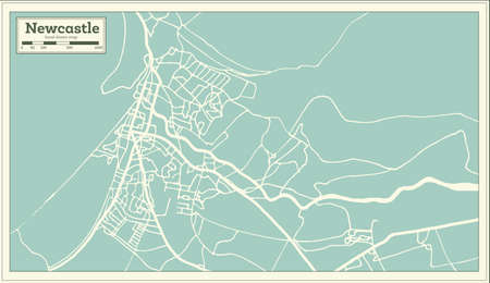 Newcastle England City Map in Retro Style.