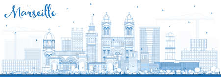Outline Marseille France City Skyline with Blue Buildings. Vector Illustration. Business Travel and Tourism Concept with Historic Architecture. Marseille Cityscape with Landmarks.