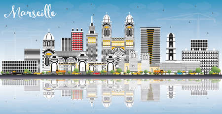 Marseille France City Skyline with Gray Buildings, Blue Sky and Reflections illustration. Vector Illustration