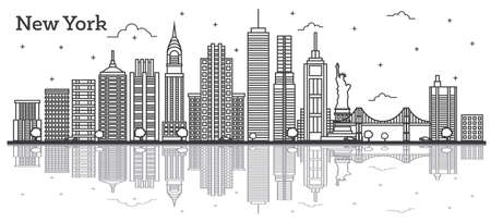 Outline New York USA City Skyline with Modern Buildings Isolated on White. Vector Illustration. New York Cityscape with Landmarks with Reflections. Vettoriali