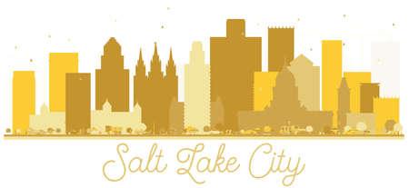 Goldenes Schattenbild der Salt Lake City Utah USA-Stadtskyline. Vektor-illustration Einfaches flaches Konzept für Tourismusdarstellung, -fahne, -plakat oder -website. Salt Lake City Cityscape mit Sehenswürdigkeiten. Standard-Bild - 94595631