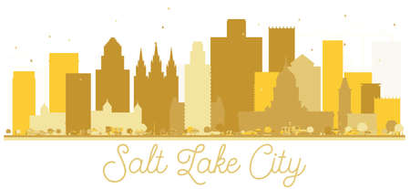 Salt Lake City Utah USA City skyline golden silhouette. Vector illustration. Simple flat concept for tourism presentation, banner, placard or web site. Salt Lake City Cityscape with landmarks.
