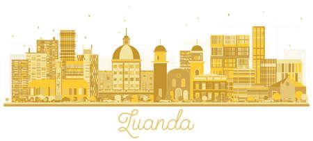 Luanda Angola City Skyline Golden Silhouette. Vector Illustration. Simple Flat Concept for Tourism Presentation, Banner, Placard or Web Site. Luanda Cityscape with Landmarks.