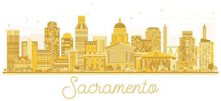 Sacramento California USA City Skyline Golden Silhouette. Vector Illustration. Simple Flat Concept for Tourism Presentation, Banner, Placard or Web Site. Sacramento Cityscape with Landmarks. Illustration