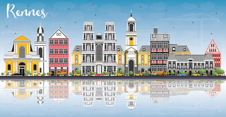 Rennes Cityscape with Landmarks 向量圖像