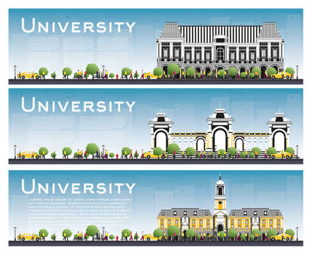 Set of University Study Banners. Vector Illustration. Students Go to the Main Building of University. Skyline with Blue Sky and Green Tree. Banner with Copy Space. Illustration