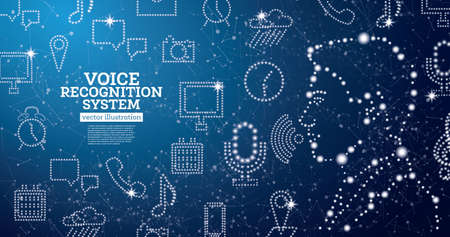 Voice Recognition Assistance System Concept with Neon Icons. Vector Illustration. Man Face. Speech Recognition Symbol.