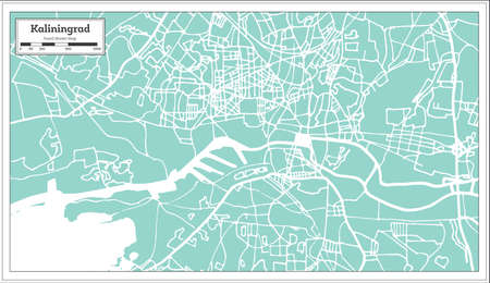 Kaliningrad Russia City Map in Retro Style. Outline Map. Vector Illustration. Illustration