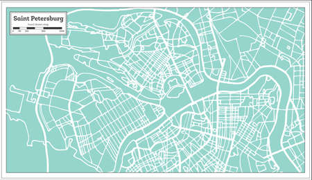 Saint Petersburg Russia City Map in Retro Style. Outline Map. Vector Illustration. Illustration