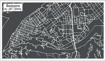 Samara Russia City Map in Retro Style. Outline Map. Vector Illustration.