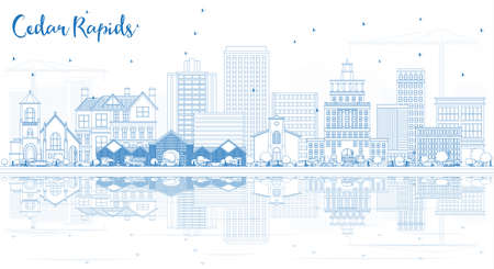 Outline Cedar Rapids Iowa Skyline with Blue Buildings with Reflections. Business Travel and Tourism Illustration with Historic Architecture.