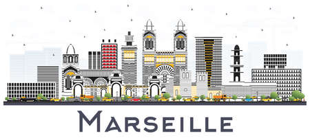 Marseille France City Skyline with Gray Buildings Isolated on White. Vector Illustration. Business Travel and Tourism Concept with Historic Architecture. Marseille Cityscape with Landmarks. Vector Illustration