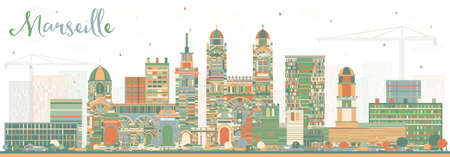 Marseille France City Skyline with Color Buildings. Vector Illustration. Business Travel and Tourism Concept with Historic Architecture. Marseille Cityscape with Landmarks. Vector Illustration