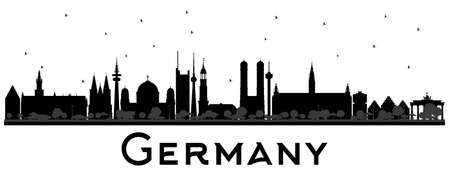 Germany City Skyline Silhouette with Black Buildings. Vector Illustration. Business Travel and Tourism Concept with Historic Architecture. Germany Cityscape with Landmarks.