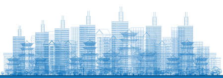 Outline City Skyscrapers in Blue Color. Vector Illustration. Illustration