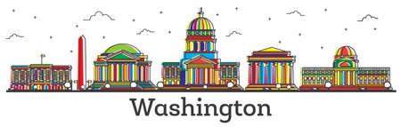 Umriss Washington DC USA Skyline der Stadt mit Farbe isoliert auf weiß . Vektor-Illustration . Washington Stadtbild Stadtbild mit Sehenswürdigkeiten Standard-Bild - 95140685