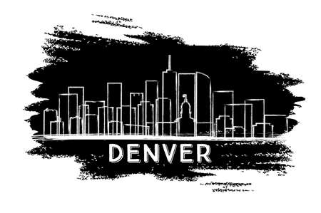 Denver Colorado USA City Skyline Silhouette. Hand Drawn Sketch. Business Travel and Tourism Concept with Modern Architecture. Vector Illustration. Denver Cityscape with Landmarks.