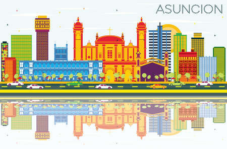 Asuncion Paraguay City Skyline with Color Buildings, Blue Sky and Reflections. Vector Illustration. Business Travel and Tourism Concept with Modern Architecture. Asuncion Cityscape with Landmarks.