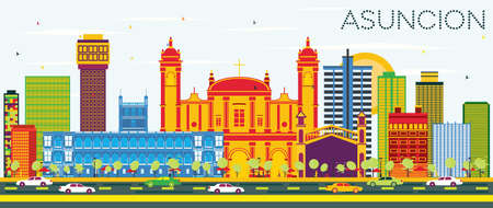 Asuncion Paraguay City Skyline with Color Buildings and Blue Sky. Vector Illustration. Business Travel and Tourism Concept with Modern Architecture. Asuncion Cityscape with Landmarks.
