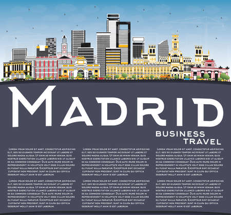 Madrid Spain City Skyline with Gray Buildings, Blue Sky and Copy Space. Vector Illustration. Business Travel and Tourism Concept with Historic Architecture. 矢量图像