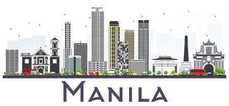 Manila Philippines City Skyline with Gray Buildings Isolated on White Background. Vector Illustration. Business Travel and Tourism Concept with Historic Buildings. Manila Cityscape with Landmarks. Vettoriali