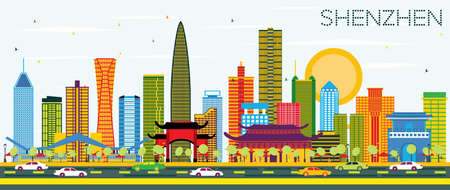 Shenzhen China City Skyline with Color Buildings and Blue Sky. Vector Illustration. Business Travel and Tourism Concept with Modern Architecture. Shenzhen Cityscape with Landmarks. Illustration