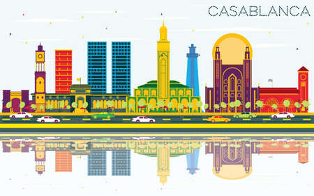 Casablanca Morocco City Skyline with Color Buildings, Blue Sky and Reflections. Vector Illustration. Business Travel and Tourism Concept with Historic Architecture. Casablanca Cityscape with Landmarks.