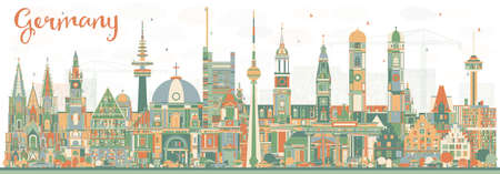 Germany City Skyline with Color Buildings. Vector Illustration. Business Travel and Tourism Concept with Historic Architecture. Germany Cityscape with Landmarks. Illustration