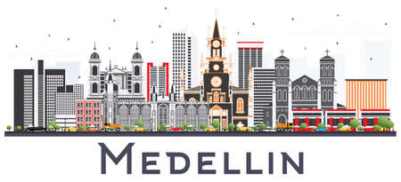 Medellin Colombia City Skyline with Gray Buildings Isolated on White Background. Vector Illustration. Business Travel and Tourism Concept with Historic Buildings. Medellin Cityscape with Landmarks.