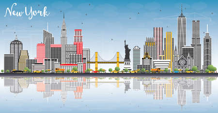 New York USA City Skyline with Gray Buildings, Blue Sky and Reflections. Vector Illustration. Business Travel and Tourism Concept with Modern Architecture. New York Cityscape with Landmarks.