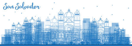 Outline San Salvador Skyline with Blue Buildings. Vector Illustration. Business Travel and Tourism Concept with Modern Architecture. Image for Presentation Banner Placard and Web Site.