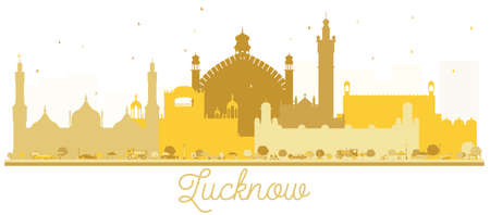 Lucknow India City Skyline Golden Silhouette. Vector Illustration. Simple Flat Concept for Tourism Presentation, Banner, Placard or Web Site. Lucknow Cityscape with Landmarks.