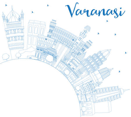 Outline Varanasi India City Skyline with Blue Buildings and Copy Space. Vector Illustration. Business Travel and Tourism Concept with Historic Architecture. Varanasi Cityscape with Landmarks.