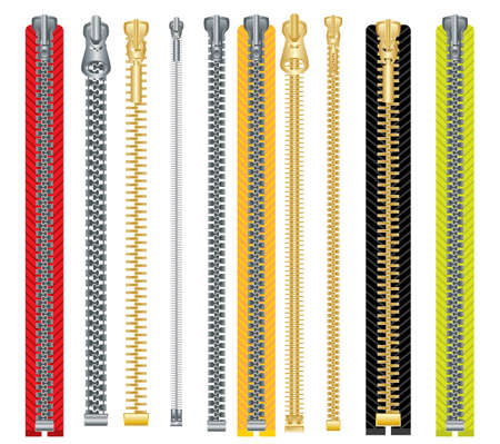 Metal and plastic zipper set. Isolated on white background. Vector illustration. Clothes accessory.