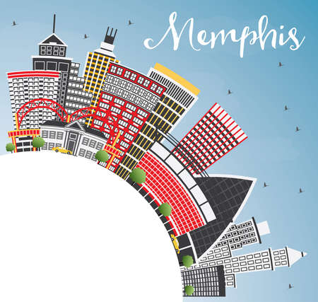 Memphis USA City Skyline with Color Buildings, Blue Sky and Copy Space. Vector Illustration. Business Travel and Tourism Concept with Historic Architecture. Memphis Cityscape with Landmarks.