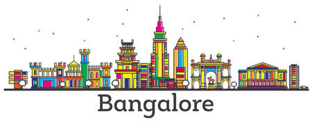 Outline Bangalore India City Skyline with Color Buildings Isolated on White. Vector Illustration. Bangalore Cityscape with Landmarks.