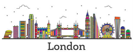 Outline London England City Skyline with Color Buildings Isolated on White. Vector Illustration. London Cityscape with Landmarks.