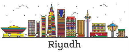 Outline Riyadh Saudi Arabia City Skyline with Color Buildings Isolated on White. Vector Illustration. Riyadh Cityscape with Landmarks.