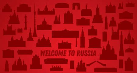 Welcome to Russia. Vector Illustration. Russia Landmarks Silhouette Set.