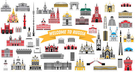 Welcome to Russia. Vector Illustration. Russia Landmarks Set Isolated on White Background.