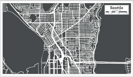 Seattle USA City Map in Retro Style Outline Map.