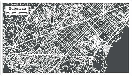 Barcelona Spain City Map in Retro Style Outline Map Vector Illustration.