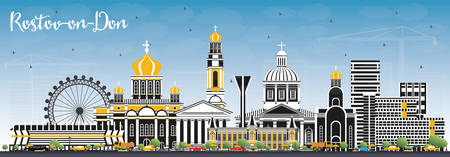 Rostov-on-Don Russia City Skyline with Color Buildings and Blue Sky. Vector Illustration.