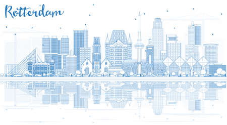 Outline Rotterdam Skyline City with Blue Buildings and Reflections. Vector Illustration.