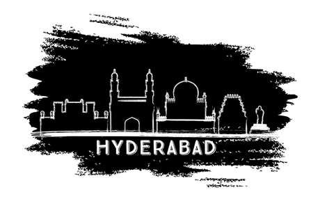 Hyderabad India City Skyline Silhouette. Hand Drawn Sketch. Business Travel and Tourism Concept with Historic Architecture. Vector Illustration. Hyderabad Cityscape with Landmarks.