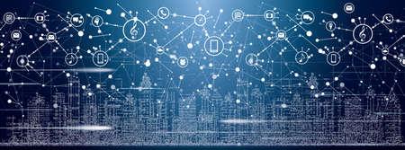 Smart City avec des bâtiments au néon, des réseaux et des icônes de l'Internet des objets. Illustration vectorielle. Vecteurs