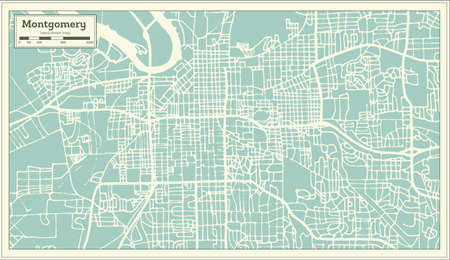 Montgomery Alabama USA City Map In Retro Style. Outline Map ...