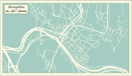 Montpelier Vermont USA City Map in Retro Style. Outline Map. Vector Illustration.
