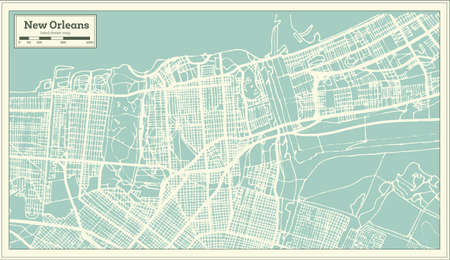 New Orleans Louisiana USA City Map in Retro Style. Outline Map. Vector Illustration.